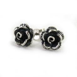 Sterling Silver Rose Flower Stud Post Earrings