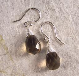 Sterling Silver Single Teardrop Coil-wrapped drop earrings, Smoky