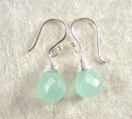 Sterling Silver Single Teardrop Coil-wrapped drop earrings, Sea Green
