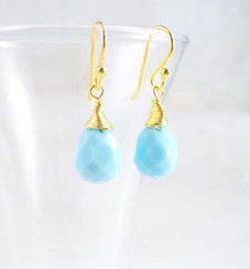 Gold Vermeil Sterling Silver Single Teardrop Coil-wrapped drop earrings, Sky Blue