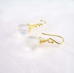 Gold Vermeil Sterling Silver Single Teardrop Coil-wrapped drop earrings, Clear