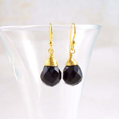 Gold Vermeil Sterling Silver Single Teardrop Coil-wrapped drop earrings, Black