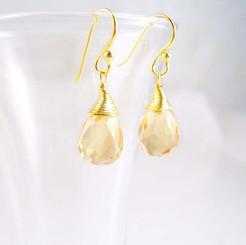 Gold Vermeil Sterling Silver Single Teardrop Coil-wrapped drop earrings, Yellow
