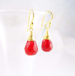 Gold Vermeil Sterling Silver Single Teardrop Coil-wrapped drop earrings, Red