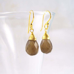 Gold Vermeil Sterling Silver Single Teardrop Coil-wrapped drop earrings, Smoky
