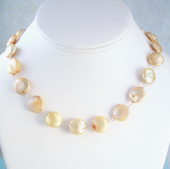 Cultured Coin Pearls Sterling Silver Link Necklace, Champagne