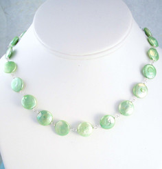 Coin Pearls Sterling Silver Link Necklace, Sea Green