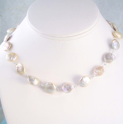 Cultured Coin Pearls Sterling Silver Link Necklace, White