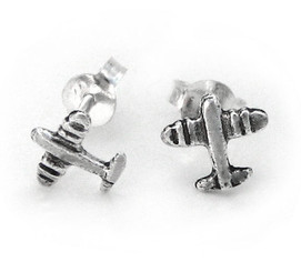 Sterling Silver Jet Plane Post Earrings