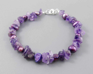 "Pearls and Stones Sterling 7.5"" Bracelet, Amethyst"