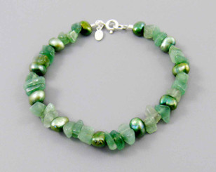 "Pearls and Stones Sterling 7.5"" Bracelet, Aventurine"