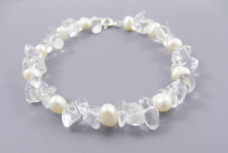 "Pearls and Stones Sterling 7.5"" Bracelet, Quartz"