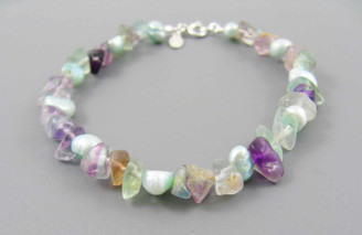 "Pearls and Stones Sterling 7.5"" Bracelet, Fluorite"