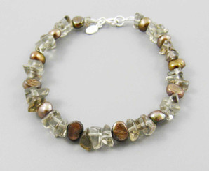"Pearls and Stones Sterling 7.5"" Bracelet, Smoky Topaz"