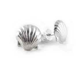 Sterling Silver Scallop Shell Post Earrings