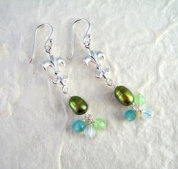 Sterling Silver Fleur de Lis Pearl & Crystal Cluster Drop Earrings