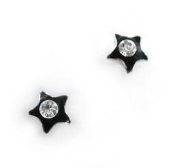 Sparkling Little Star Enameled Stud Post Earrings, Black