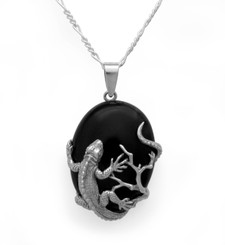 Sterling Silver Iguana Lizard Onyx Pendant Necklace