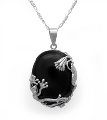 Sterling Silver Frog Amphibian Lily Onyx Pendant Necklace