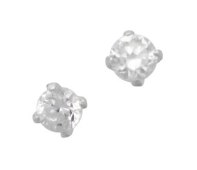 Sterling Silver Zirconia Solitaire Stud Post Earrings, 3mm