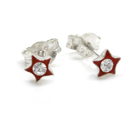 Sparkling Little Star Enameled Stud Post Earrings, Red