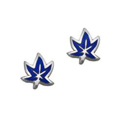 Sterling Silver Enamel Maple Leaf Stud Post Earrings, Navy Blue