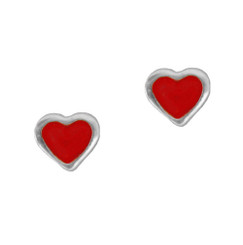 Sterling Silver Red Enameled Heart Stud Post Earrings