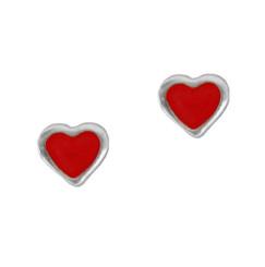Sterling Silver Red Enameled Heart Stud Post Earrings