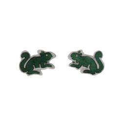 Sterling Silver Enamel Squirrel Stud Post Earrings, Green