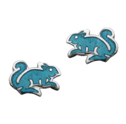 Sterling Silver Enamel Squirrel Stud Post Earrings, Sky Blue
