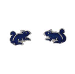 Sterling Silver Enamel Squirrel Stud Post Earrings, Navy Blue