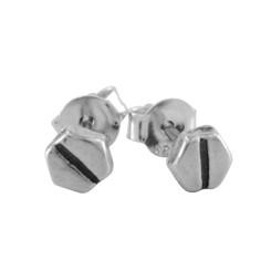 Sterling Silver Slotted Screw Head Nut Bolt Stud Post Earrings