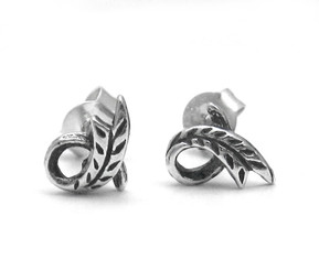 Sterling Silver Curl Looped Leaf Stud Post Earrings
