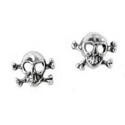 Sterling Silver Hazard Skull and Crossbones Stud Post Earrings