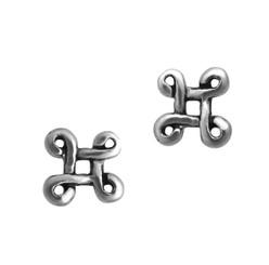 Sterling Silver Four Corner Loops Stud Post Earrings