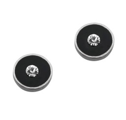 Sparkling Little Round Circle Enameled Stud Post Earrings, Black