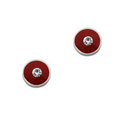 Sparkling Little Round Circle Enameled Stud Post Earrings, Red