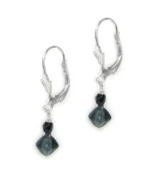 Sterling Silver Czech Crystals Drop on Leverback Hook Earrings, Blue