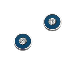 Sparkling Little Round Circle Enameled Stud Post Earrings, Blue