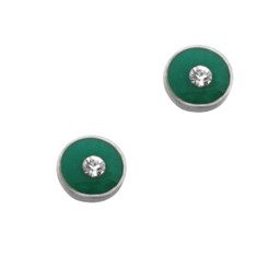 Sparkling Little Round Circle Enameled Stud Post Earrings, Green