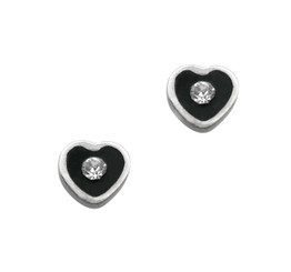 Sparkling Little Heart Enameled Stud Post Earrings, Black