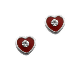 Sparkling Little Heart Enameled Stud Post Earrings, Red