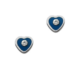 Sparkling Little Heart Enameled Stud Post Earrings, Blue
