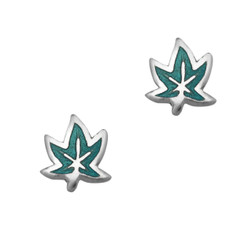 Sterling Silver Enamel Maple Leaf Stud Post Earrings, Aqua