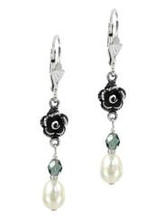 Sterling Silver Rose Cultured Pearl Crystal Drop Earrings, Blue