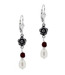 Sterling Silver Rose Cultured Pearl Crystal Drop Earrings, Red