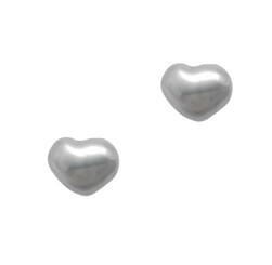 Sterling Silver Puff Heart Stud Post Earrings