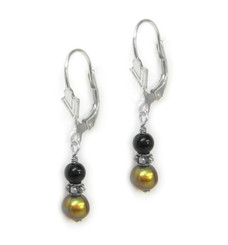 Sterling Silver Jora Stone and Cultured Pearl Drop Earrings, Onyx and Gold