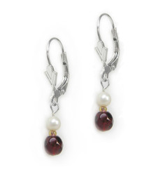 Sterling Silver Toni Cultured Pearl and Crystal Drop Earrings, Red