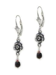 Sterling Silver Rose Crystal Drop Earrings, Red